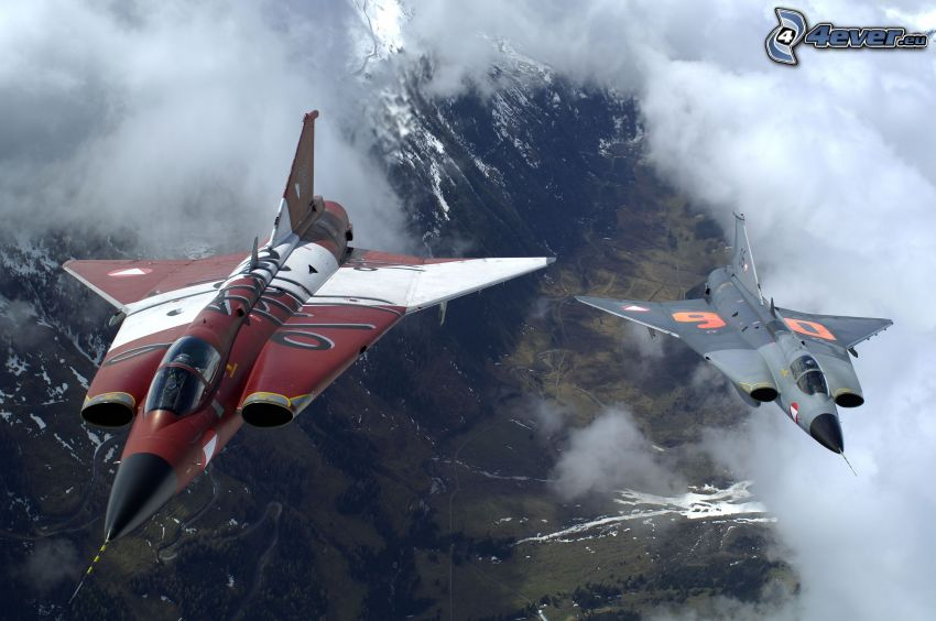 Saab J-35 Draken, vadászrepülőgépek, felhők, dombok