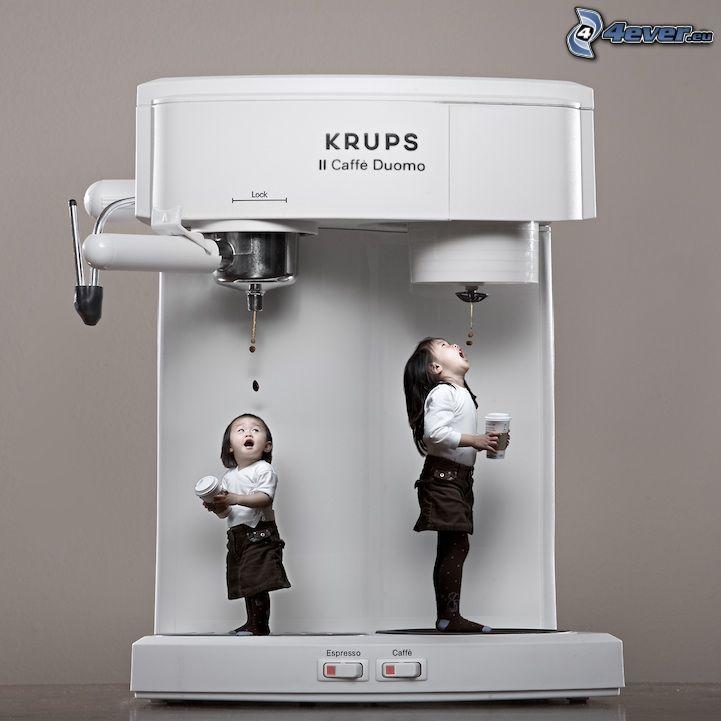 gyerekek, kávéfőző, vicces