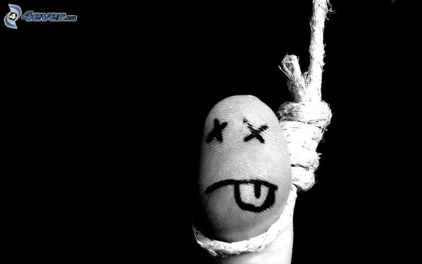 felakasztott, ujj, kötél, öngyilkosság