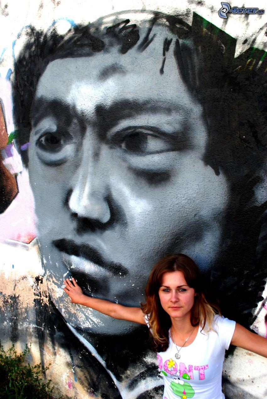graffiti, arc, lány a fal mellett