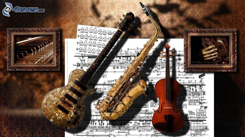elektromos gitár, trombita, hegedű, hangjegyek, zongora