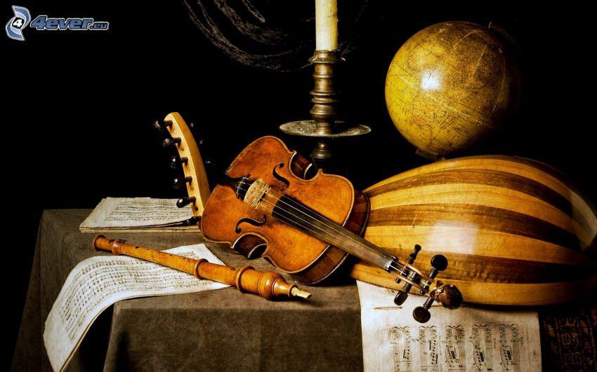 hegedű, ajaksípos hangszerek, hangjegyek, földgömb, gyertya