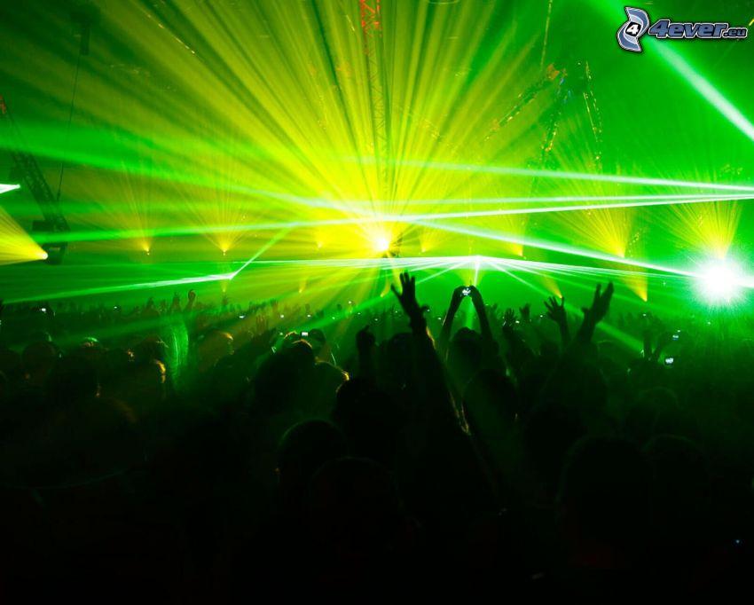 koncert, néptömeg, rajongók, kezek, fények