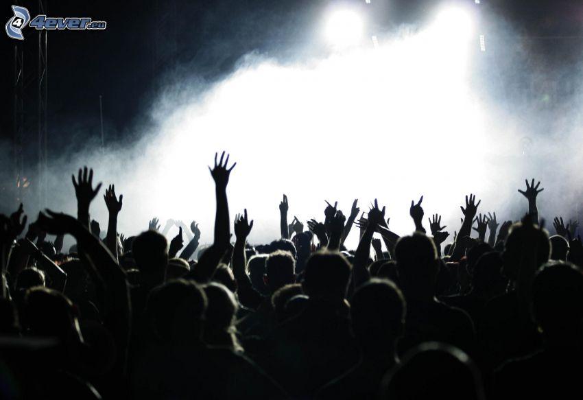 koncert, néptömeg, rajongók, kezek