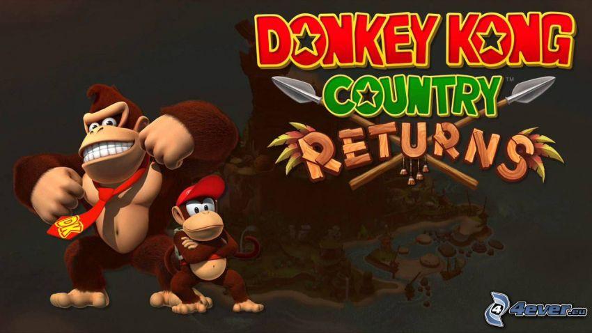 Donkey Kong Country Returns, gorillák, mosoly, nyakkendő