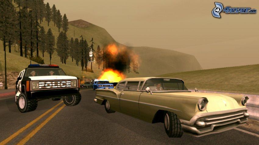 GTA San Andreas, robbanás, baleset