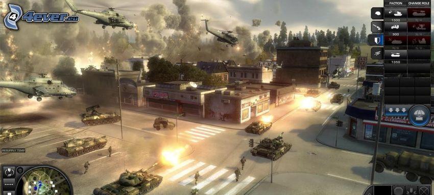 World in Conflict, lövés, lerombolt város, tankok, katonai helikopterek