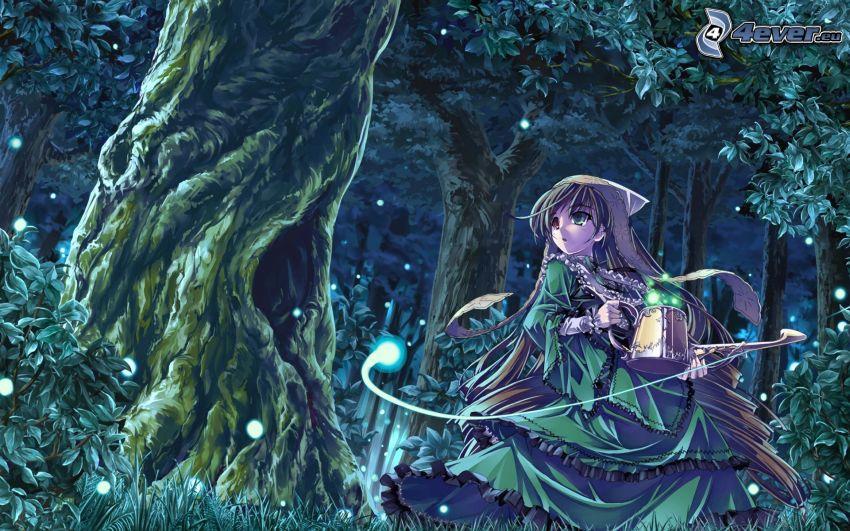 anime lány, rajzolt erdő