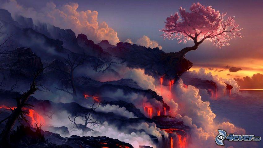 fantasy táj, rózsaszín fa, láva, gőz