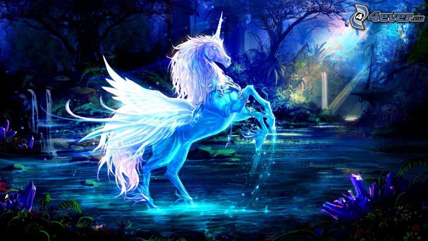 fehér ló, fantasy táj