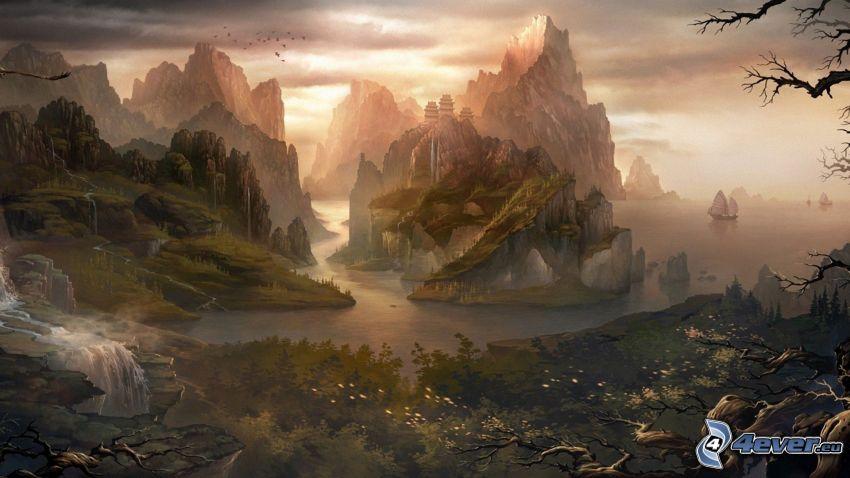 sziklás hegységek, folyó, hajók, fantasy táj, vízesések