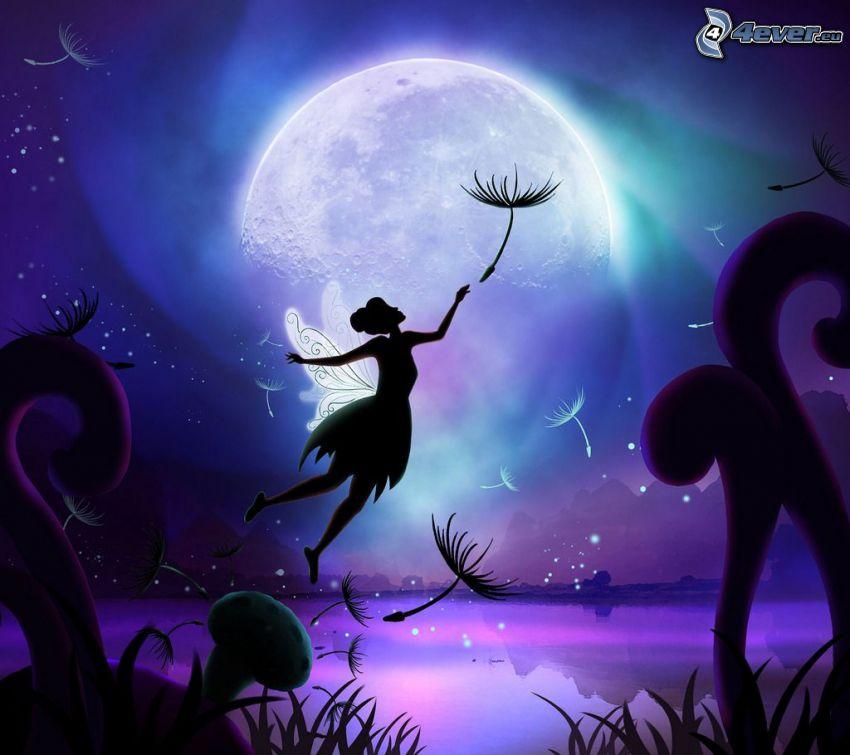 tündér, gyermekláncfű, hold, hegyek, rajzolt táj