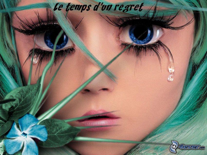 arc, szomorúság, szemek, könnyek