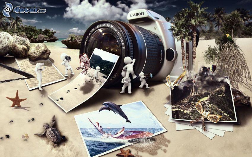 Canon, fényképezőgép, fényképek, pálcikaemberek, homokos tengerpart, pálmafák