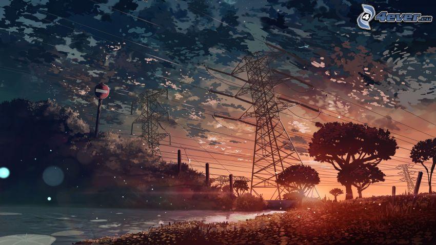 elektromos vezetékek, fák sziluettjei, felhők, útjelző tábla