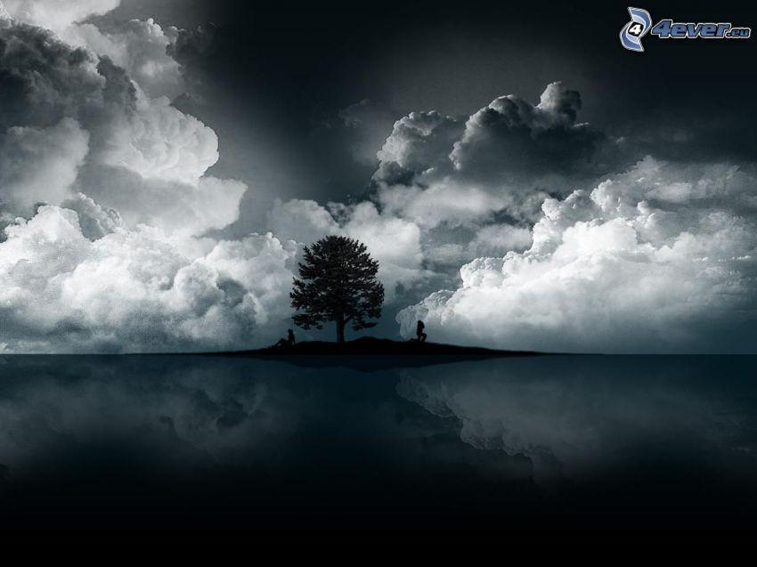fa sziluettje, sötét felhők, visszatükröződés