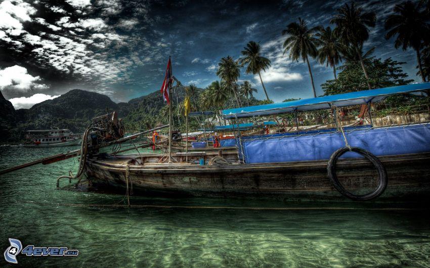 hajó, tenger, pálmafák, HDR