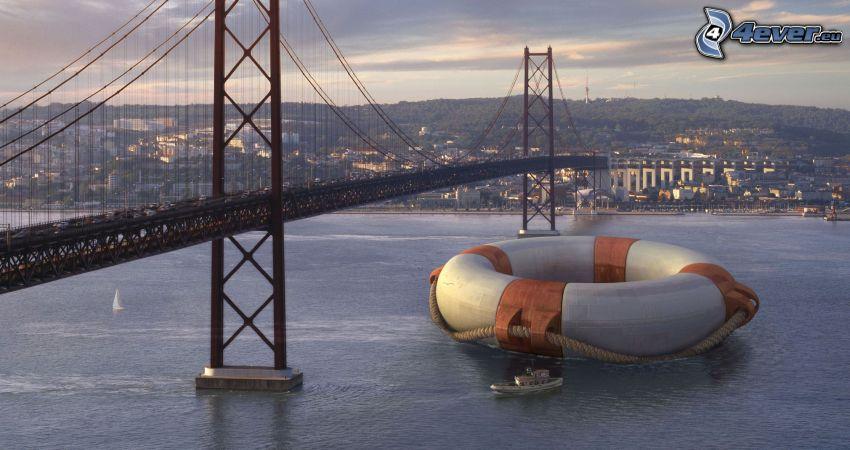 híd, úszógumi, hajó, folyó