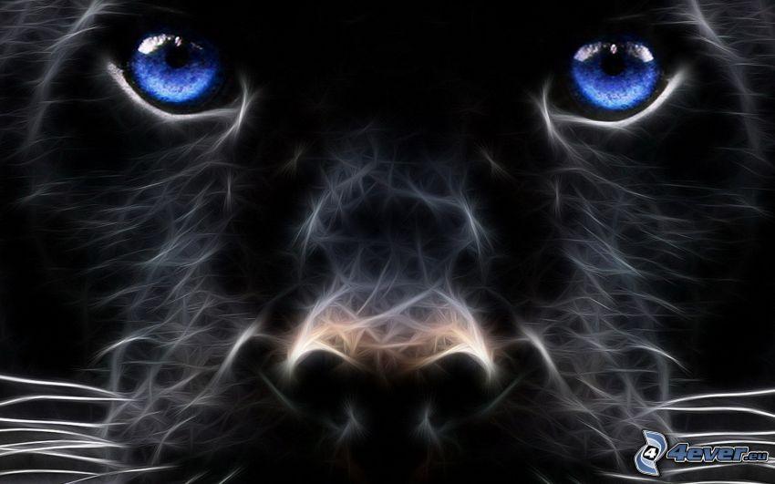 jaguár, arc, fraktális állatok
