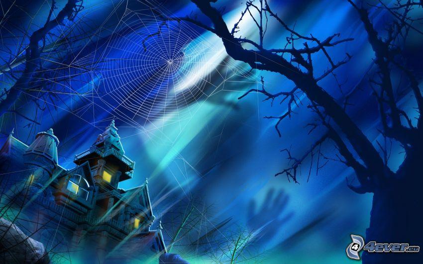 kísértetkastély, fa sziluettje, pókháló