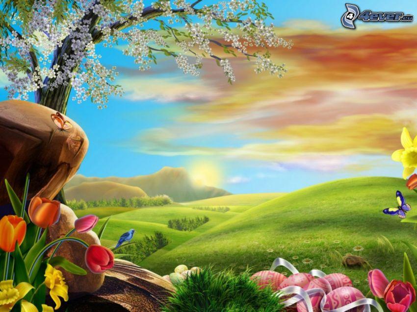 mesebeli táj, rét, rajzolt virágok, húsvéti tojások