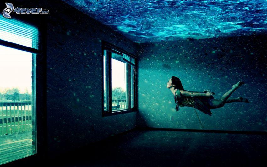 nő, úszás víz alatt, ház, ablak