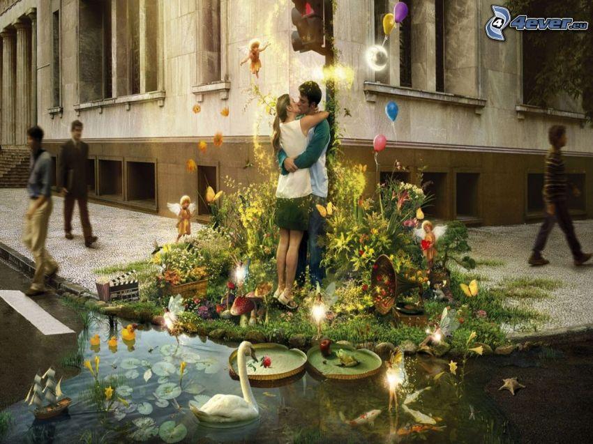 párocska, csók, ölelés, természet, hattyú, tavacska, utca