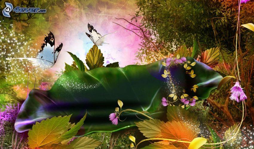 pillangók, rajzolt virágok