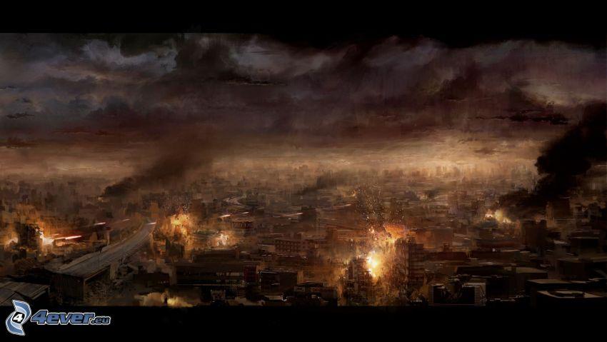 posztapokaliptikus város, kilátás a városra, éjszakai város, robbanás