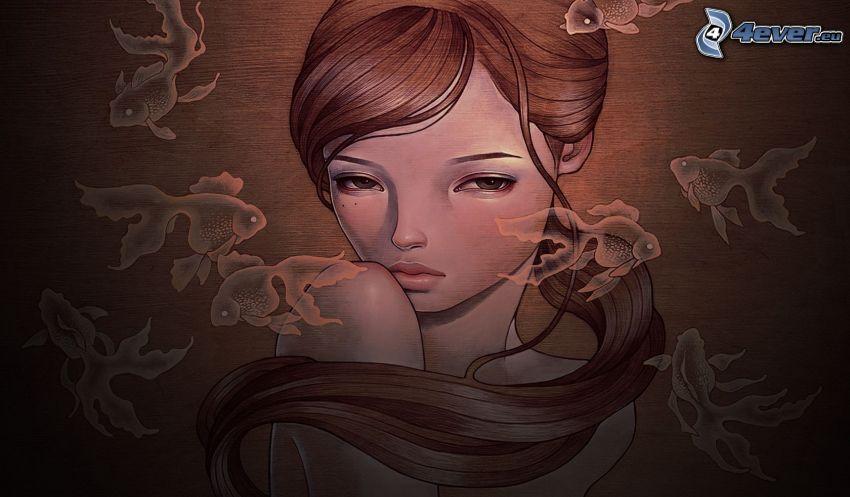 rajzolt nő, arc, halak