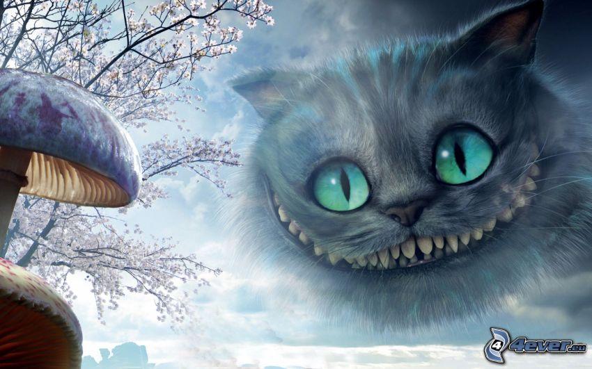 szürke macska, mosoly, fogak, gombák, virágzó fa