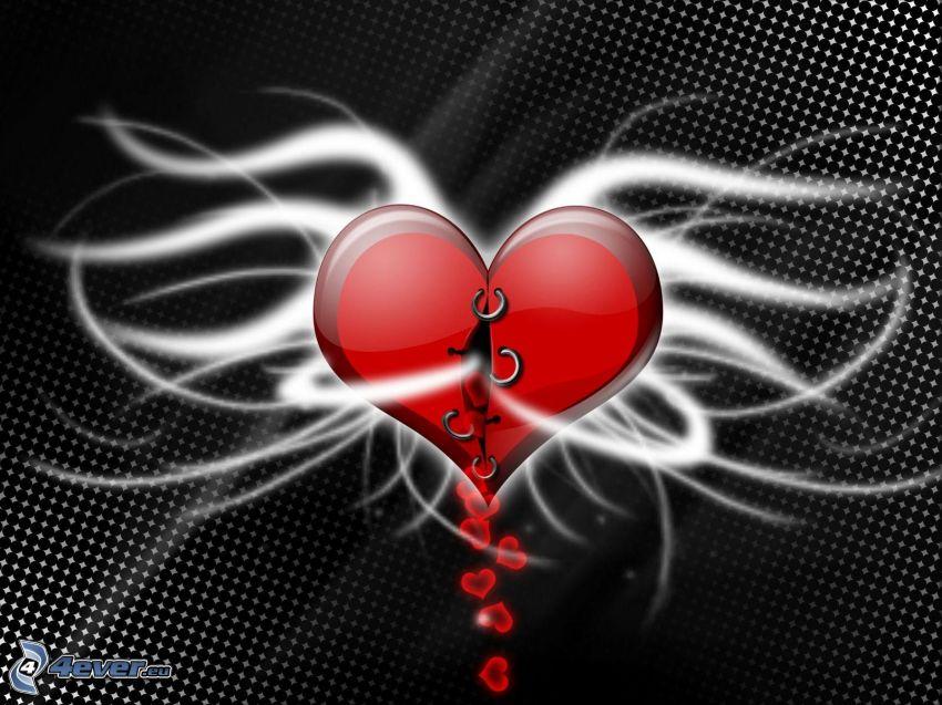 vérző szív, piercing