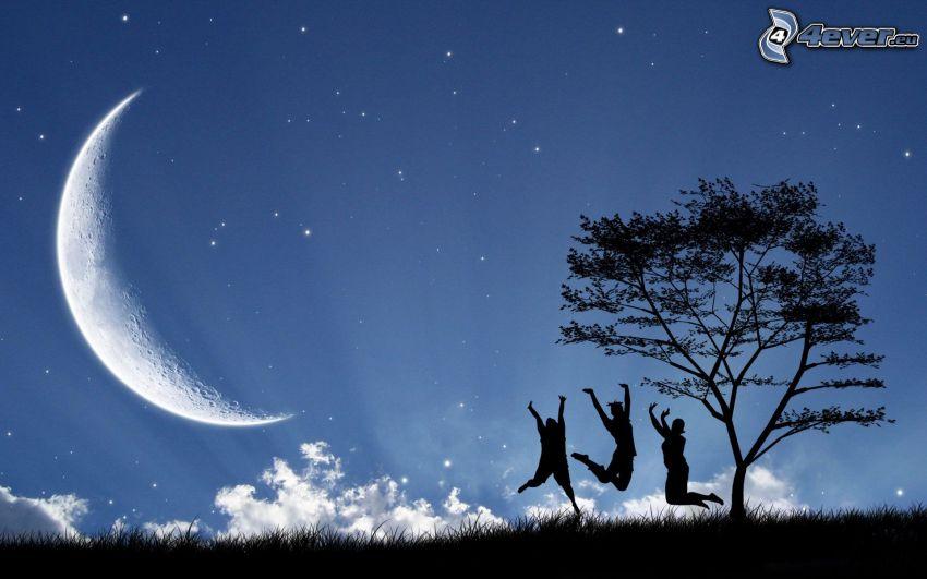 emberek, ugrás, hold, fa sziluettje