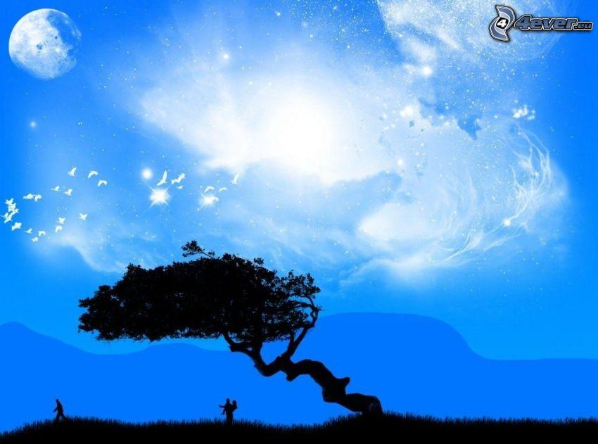 fa sziluettje, nő és férfi sziluettje, Hold