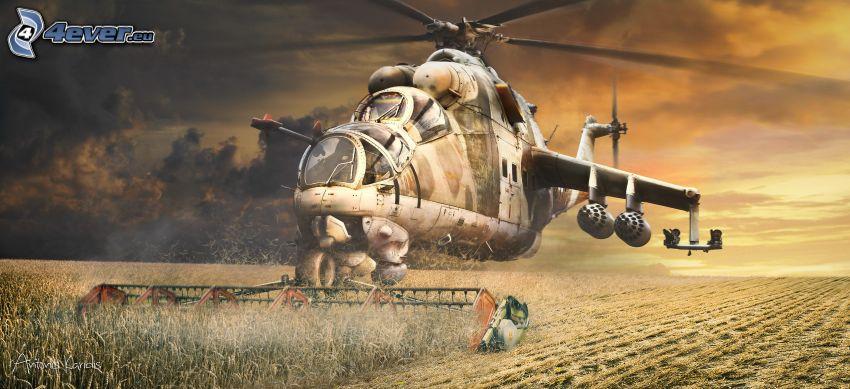 helikopter, kombájn, mező