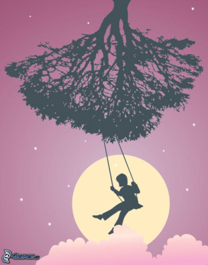 hinta, fiú, fa sziluettje, álom, hold