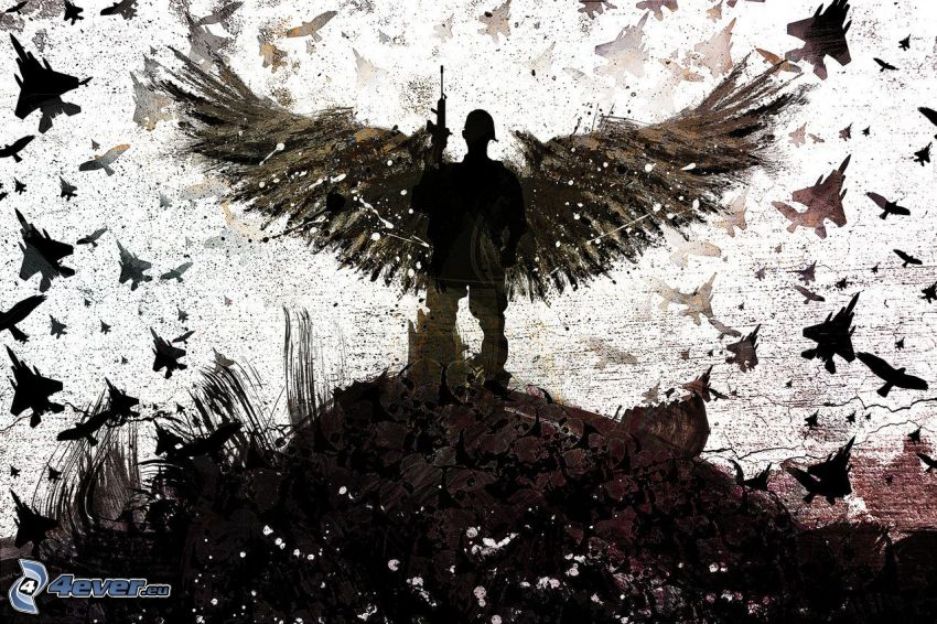 katona, angyal, vadászrepülőgépek