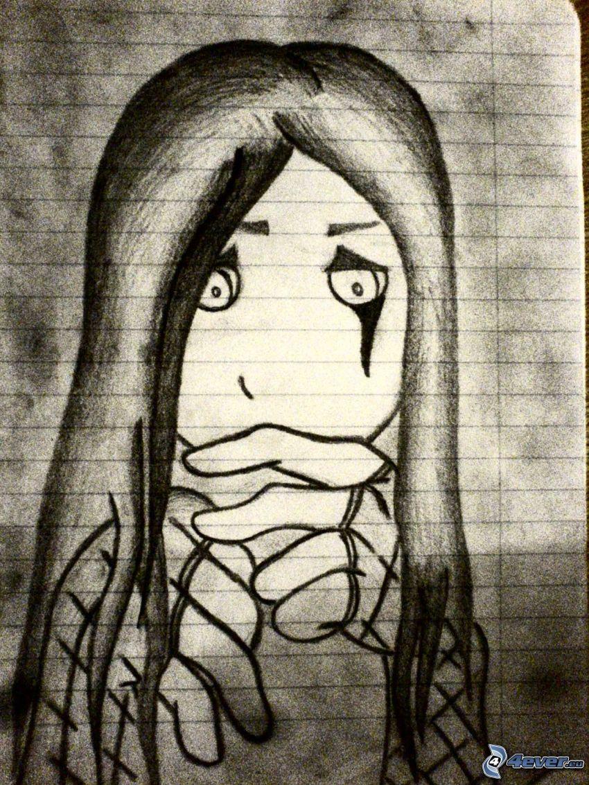 arc, haj, sírás