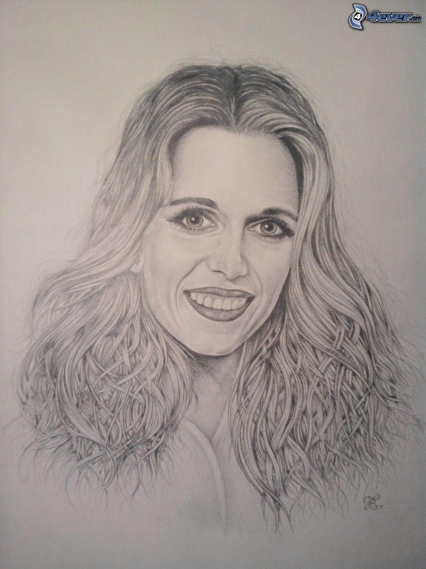 női portré, arc, mosoly