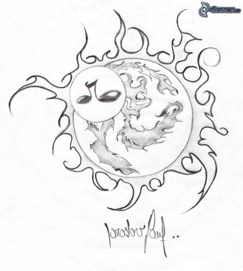 rajzolt nap, arc, láng