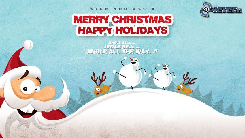 Merry Christmas, Happy Holidays, Santa Claus, hóemberek, rénszarvasok