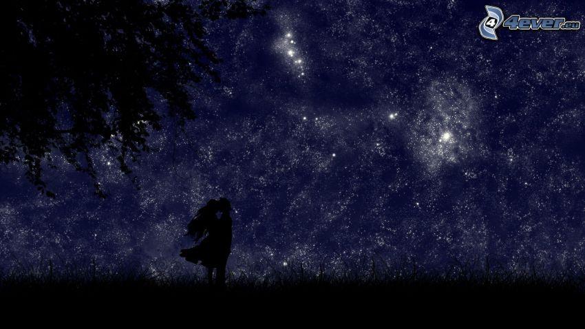 párocska sziluettje, éjjeli égbolt, csillagos égbolt