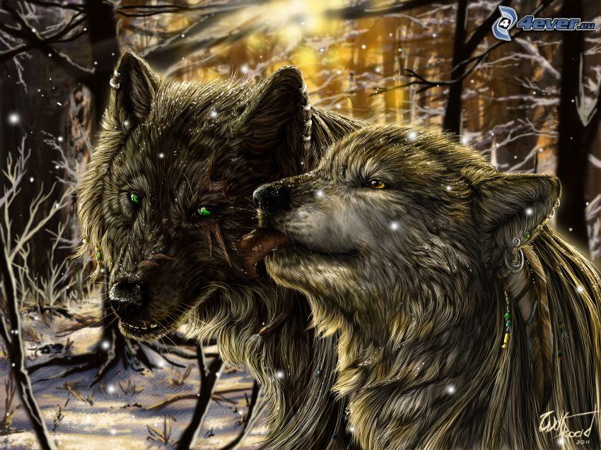 rajzolt farkasok