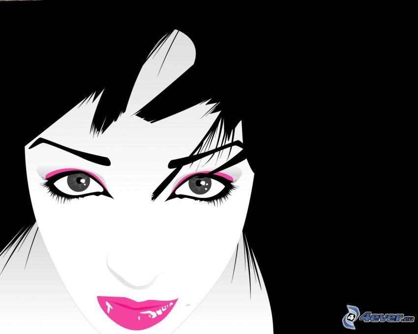 rajzolt lány, arc, ajkak, szemek