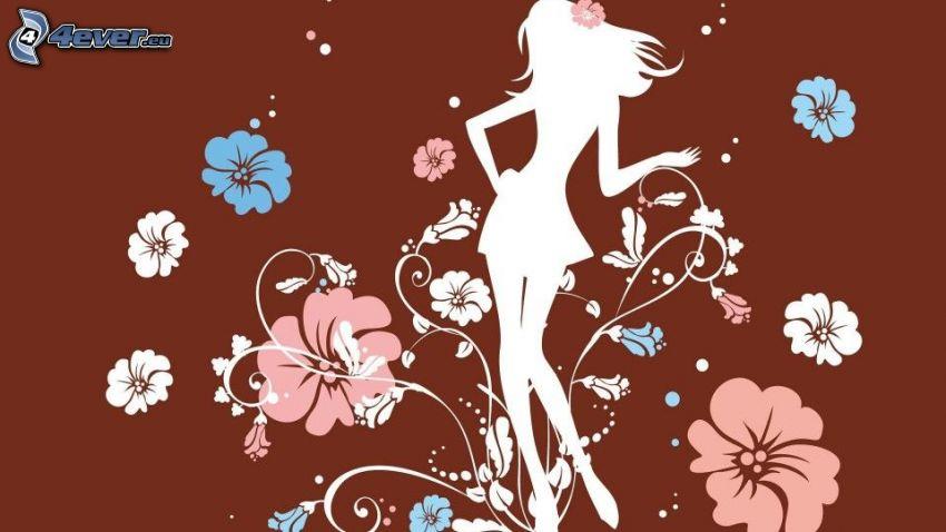 rajzolt lány, karcsú nő, rajzolt virágok