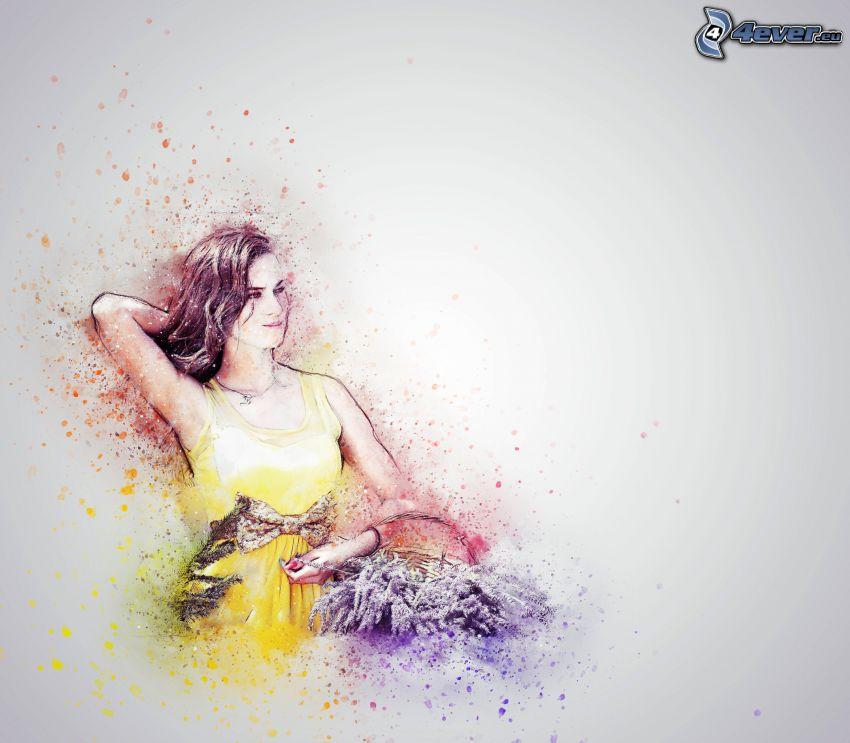 rajzolt nő, levendula