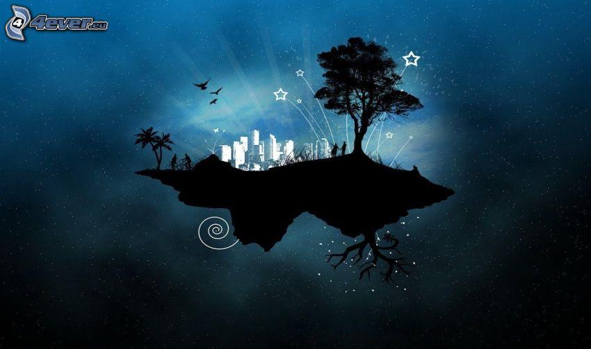 repülő sziget, fa sziluettje, felhőkarcolók, madár sziluettje, pálmafák, csillagos égbolt