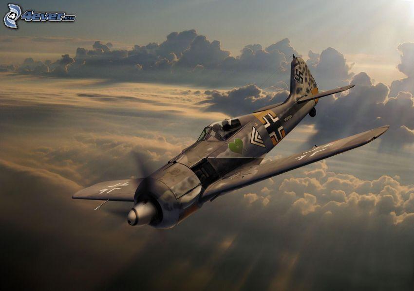 repülőgép, felhők felett