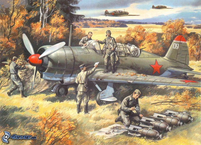 repülőgép, katonák