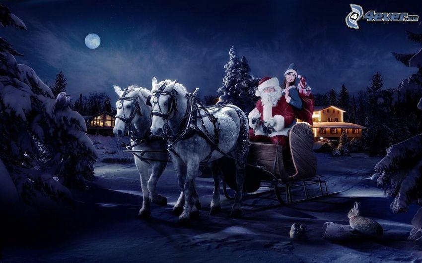 Santa Claus, szán, éjszaka